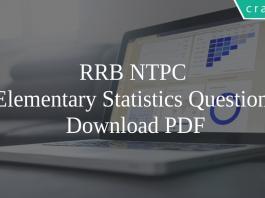 RRB NTPC Elementary Statistics PDF
