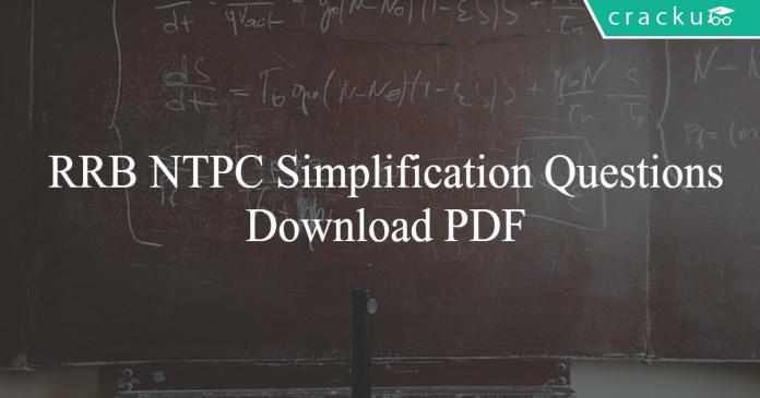 RRB NTPC Simplification PDF
