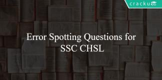 Error Spotting Questions for SSC CHSL