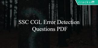 SSC CGL Error Detection Questions PDF