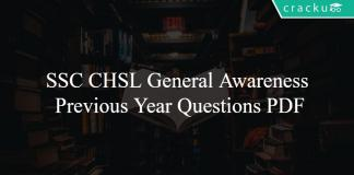 SSC CHSL General Awareness Previous Year Questions PDF
