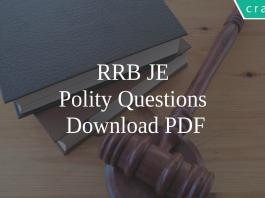 RRB JE Polity Questions PDF