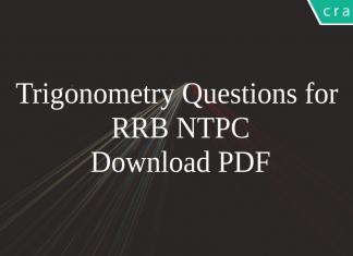 Trigonometry Questions for RRB NTPC PDF