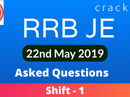 RRB JE 22nd May 2019 Asked Questions (1)