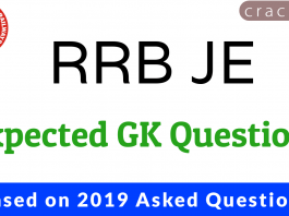 RRB JE GK Expected Questions Based on 2019 Papers