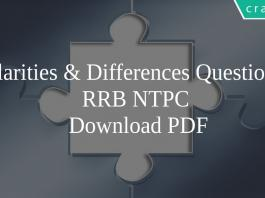 Similarities & Differences Questions for RRB NTPC PDF