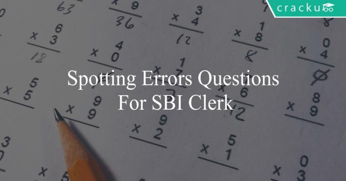 spotting errors questions for sbi clerk
