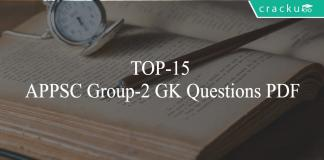 TOP-15 APPSC Group-2 GK Questions PDF