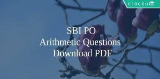 SBI PO Arithmetic Quetions PDF