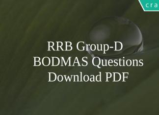 RRB Group-D BODMAS Questions PDF