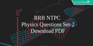 RRB NTPC Physics Set-2 Questions PDF