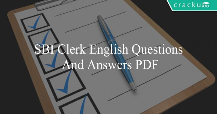 sbi clerk english questions and answers pdf