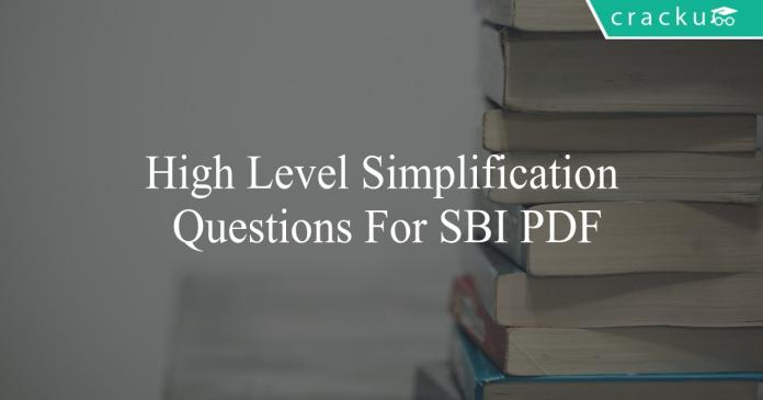 high level simplification questions for sbi po pdf
