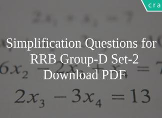 Simplification Questions for RRB Group-D Set-2 PDF
