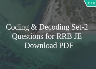 Coding & Decoding Set-2 Questions for RRB JE PDF