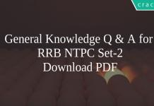 General Knowledge Q & A for RRB NTPC Set-2 PDF