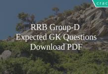RRB Group-D Expected GK Questions PDF