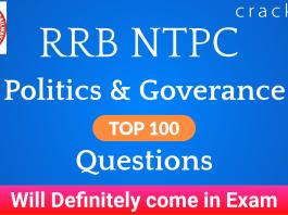 RRB NTPC Politics & Governance Questions