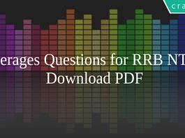 Averages Questions for RRB NTPC PDF