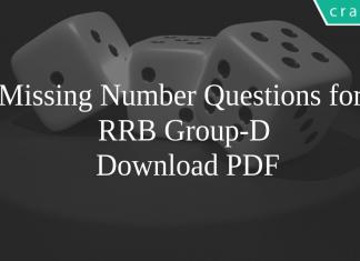 Missing Number Questions for RRB Group-D PDF