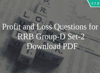 Profit and Loss Questions for RRB Group-D Set-2 PDF
