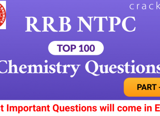 RRB NTPC top-100 Chemistry Questions