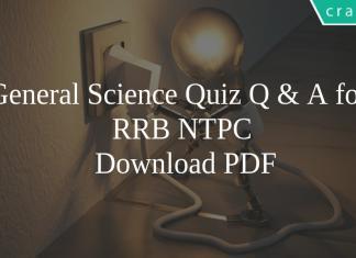 General Science Quiz Q & A for RRB NTPC PDF