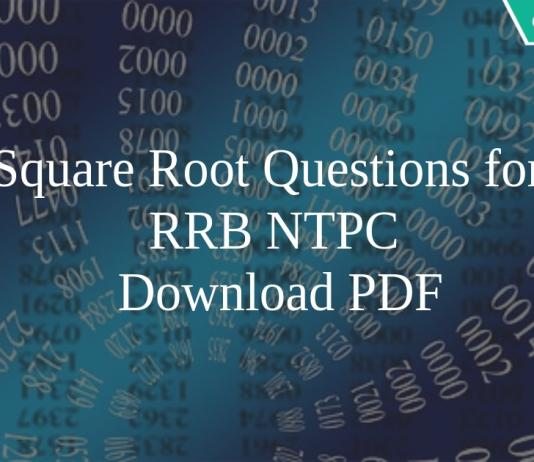 Square Root Questions for RRB NTPC PDF