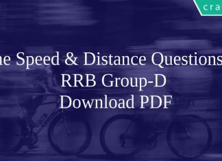 Time Speed & Distance Questions for RRB Group-D PDF
