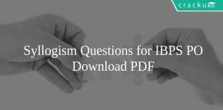 Syllogism Questions for IBPS PO PDF