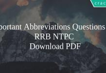 Important Abbreviations Questions for RRB NTPC PDF