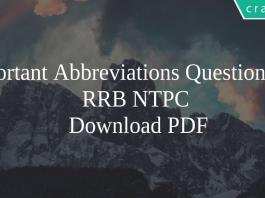 Important Abbreviations Questions for RRB NTPC PDF