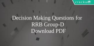 Decision Making Questions for RRB Group-D PDF