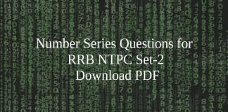 Number Series Questions for RRB NTPC Set-2 PDF
