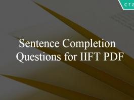 Sentence Completion Questions for IIFT PDF