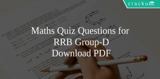 Maths Quiz Questions for RRB Group-D PDF
