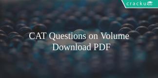 CAT Questions on Volume PDF