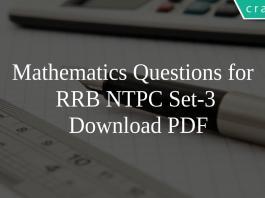 Mathematics Questions for RRB NTPC SET-3 PDF