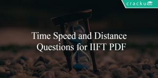 Time Speed and Distance Questions for IIFT PDF