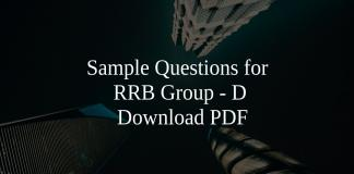 Sample Questions for RRB Group - D PDF