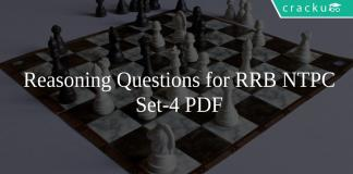 Reasoning Questions for RRB NTPC set-4 PDF