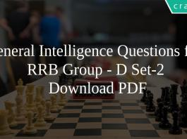 General Intelligence Questions for RRB Group - D Set-2 PDF