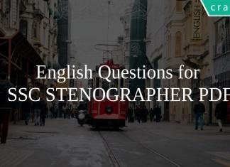 English Questions for SSC STENOGRAPHER PDF