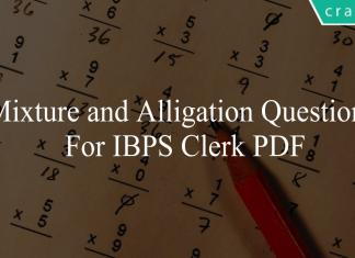 mixture and alligation questions for ibps clerk pd