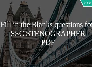 Fill in the Blanks questions for SSC STENOGRAPHER PDF