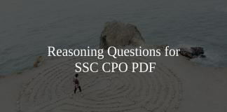 Reasoning Questions for SSC CPO PDF