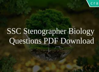 SSC Stenographer Biology Questions PDF Download