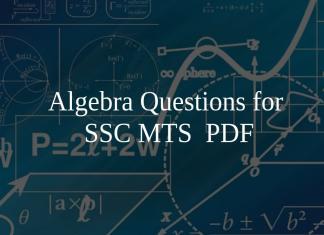 Algebra Questions for SSC MTS PDF