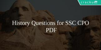 History Questions for SSC CPO PDF
