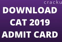 CAT 2019 ADmit Card Download